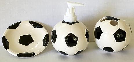 Sports Themed 3 Piece Stoneware Bathroom Accessories Bundle (Soccer)