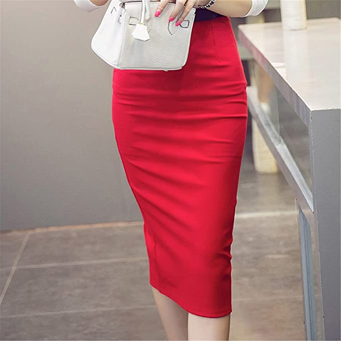 98208dd0111 Image Unavailable. Image not available for. Color: B dressy High Waist  Pencil Skirt Plus Size Tight Bodycon Fashion Women Midi Skirt Red Black