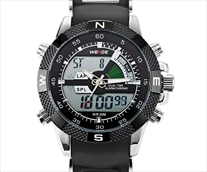 Mens Sport Watch Dual Time Alarm Chronograph Analog Digital LCD Black Markers WH-172