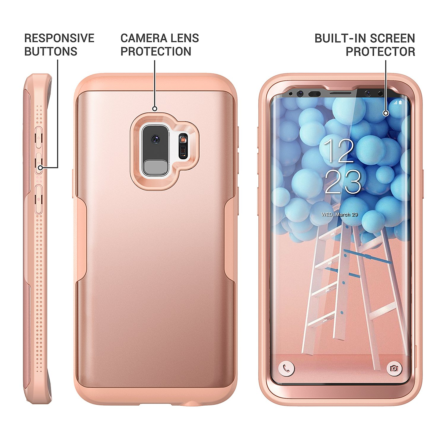 Galaxy S9 Case, YOUMAKER Rose Gold with Built-in Screen Protector Heavy Duty Protection Shockproof Slim Fit Full Body Case Cover for Samsung Galaxy S9 5.8 inch (2018) - Rose Gold/Pink by YOUMAKER (Image #6)