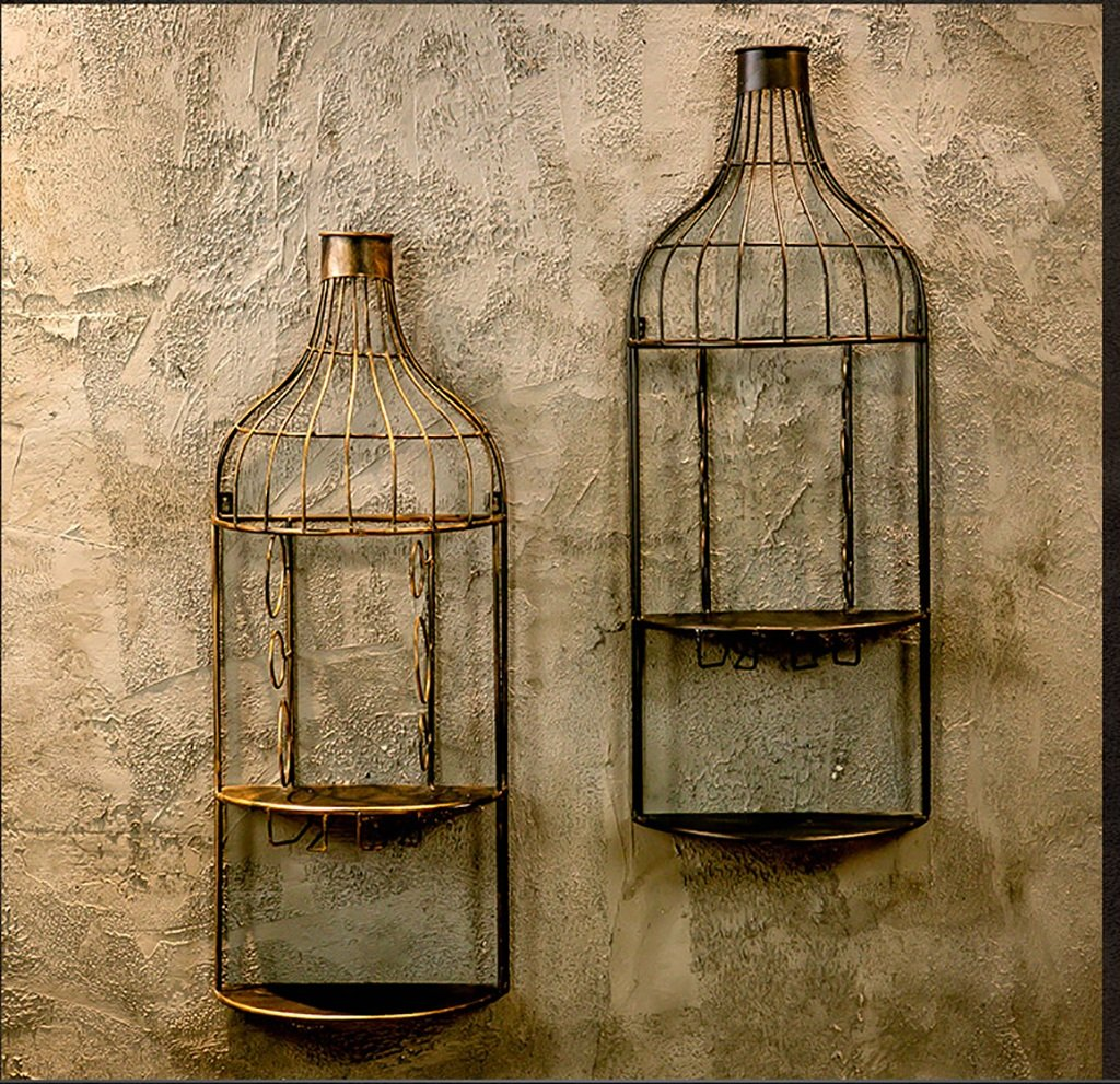 Bar de estilo industrial retro decorado estante de vino de hierro forjado armario de vino creativo titular de vidrio de vino al revés restaurante tapices de ...