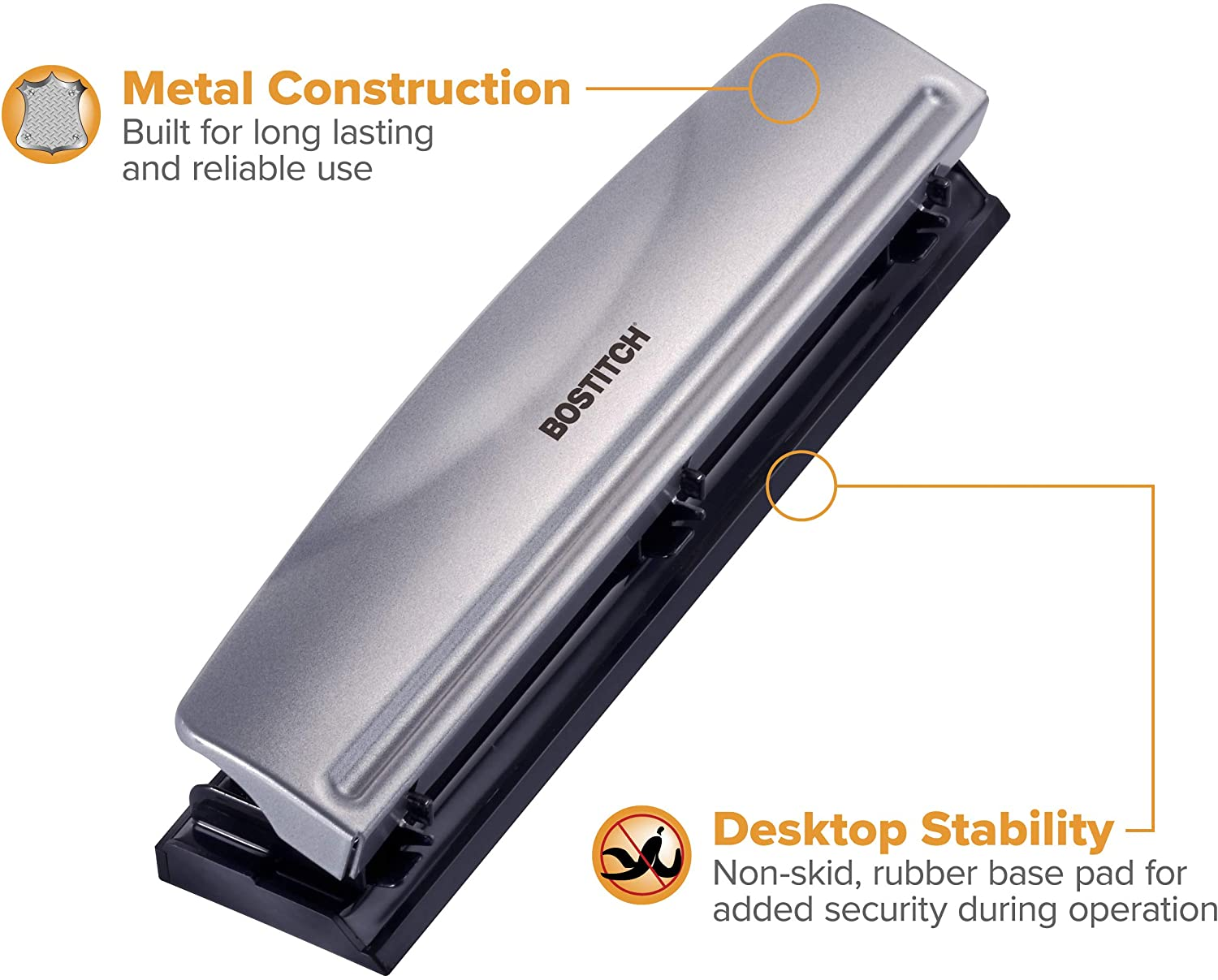 12 Sheet Capacity Combo Pack Metal Hole Punch and 3 in 1 Stapler with Integrated Remover /& Staple Storage