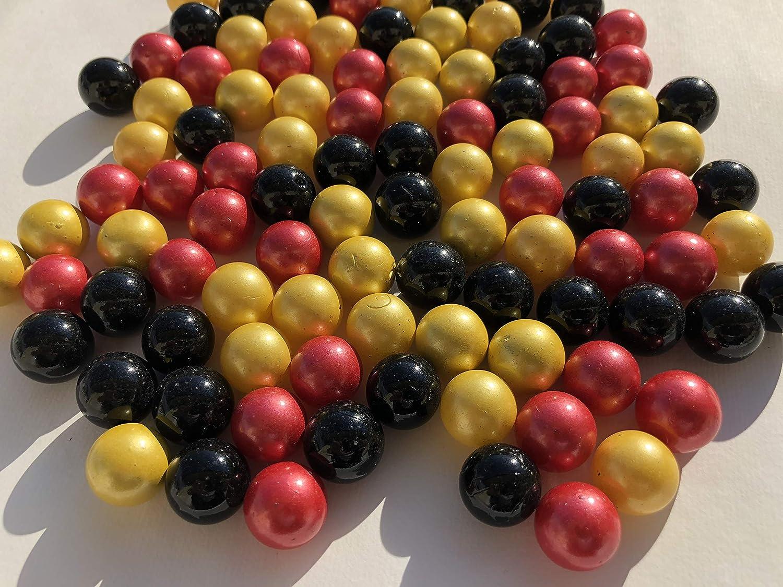 100 St/ück Glasmurmeln Deutschland Mischung schwarz rot gold Murmeln 16mm Glas-steine Murmel Vasen-F/üllungen schwarze rote goldene Murmeln Glitzersteine Dekoschalen Murmelspiel Glas