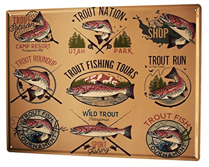 LEotiE SINCE 2004 Tin Sign XXL Metal Plate Plaque Angler Home Trout Sport Fishing Deep Sea