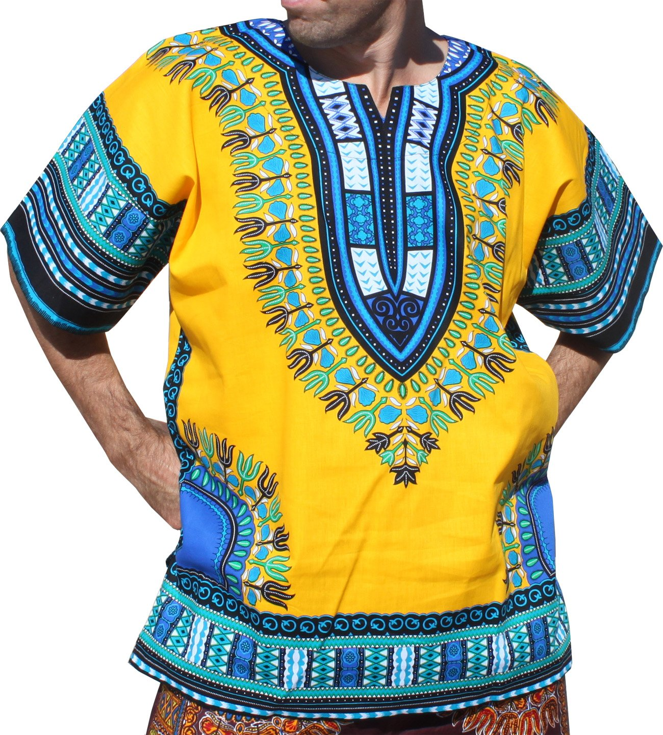 RaanPahMuang Brand Unisex Bright Colour Cotton Africa Dashiki Shirt Plain Front, X-Large, Amber Yellow by Raan Pah Muang (Image #1)