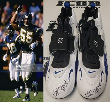 1927ca8fb7 JR Junior Seau Signed 1995 Chargers Football Game Issued Cleats BAS Beckett  COA - Beckett Authentication