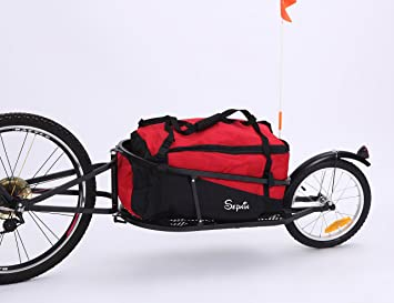 sepnine single wheel bike cargo trailer aluminium frame 8002t bicycle cargo trailer with red bag