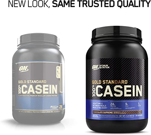 Optimum Nutrition Gold Standard 100 Micellar Casein Protein Powder, Slow Digesting, Helps Keep You Full, Overnight Muscle Recovery, Chocolate Supreme, 2 Pound Packaging May Vary
