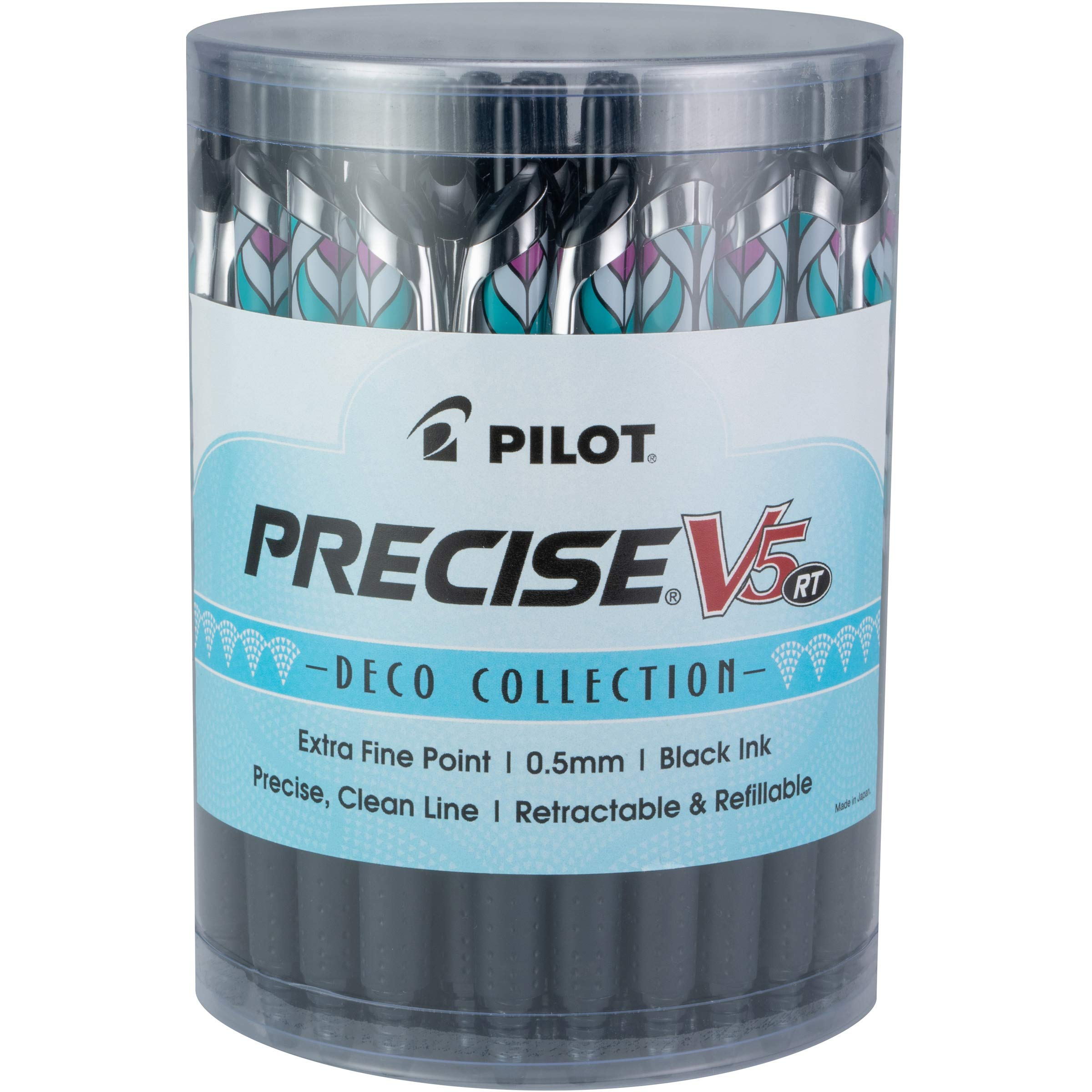 PILOT Precise V5 RT Refillable & Retractable Liquid Ink Rolling Ball Pens, Extra Fine Point, Black Ink, Tub of 48 (8034) by Pilot
