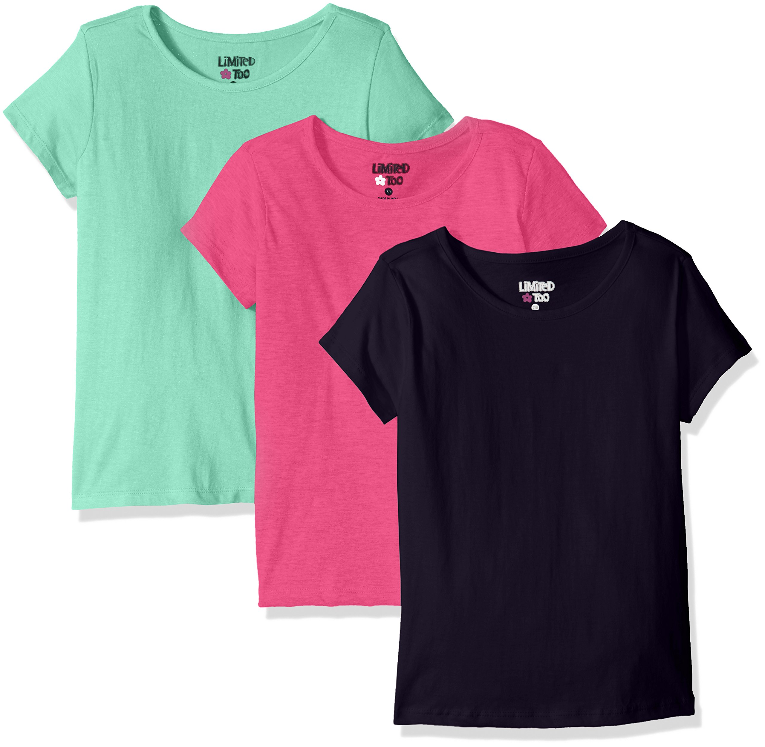 Limited Too Little Girls' 3 Pack: Short Sleeve T-Shirts, Fuchsia Pink/Pistachio/Peacoat, 5/6