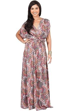 542dacf0a05 KOH KOH Petite Womens Long Bohemian Boho Short Sleeve Summer Flowy V-Neck  Casual Print