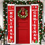Merry Christmas Banner Red Happy Holidays Christmas Porch Sign Front Door Hanging Decorations for Christmas Home Wall Indoor