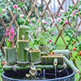 Sungmor Bamboo Water Fountain with Pump for Yard/Pond/Garden, Indoor & Outdoor Bamboo Fountain Kit, Fish Tank Garden Bowl Lan