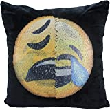 "Reversible Sequin Pillow Case, USONG Emoji Changeable Face Cushion Cover Pillow Cases Decorative Pillowcase 16 x 16"" for Sofa Home Decor DIY (Laughing&crying and unhappy)"