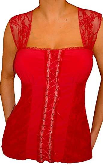 19fcd4085b74d1 Funfash MY10 Candy Apple RED LACE Bustier Plus Size Corset TOP Shirt 1X XL  16