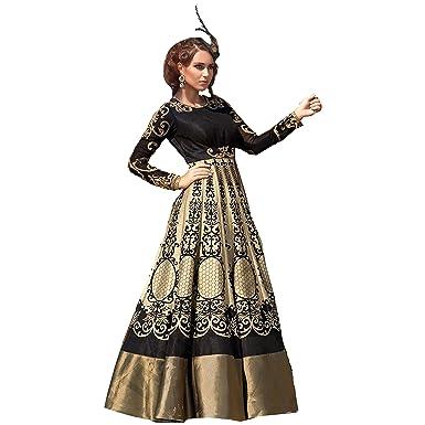 5ca1a5b702 Ustaad Women's Indian Wedding Dress Free Size Golden Black: Amazon ...