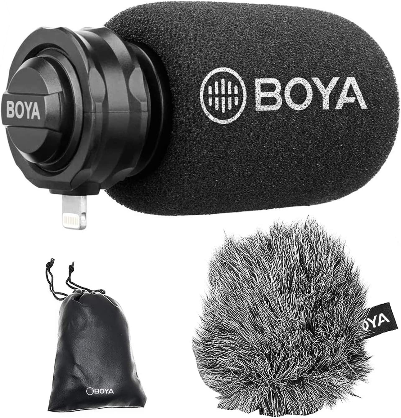 iPhone Lightning Plug & Play Microphone,BOYA DM200 Cardioid Condenser Microphone with MFI Certified Lightning Port iPhone Apple Mic Compatible with iPhone iPad iPod Touch iOS Device