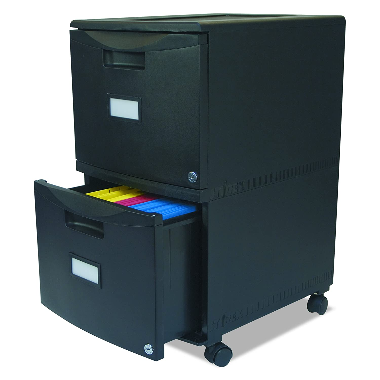 Black Storex 61312B01C Two-Drawer Mobile Filing Cabinet 14-3//4w x 18-1//4d x 26h
