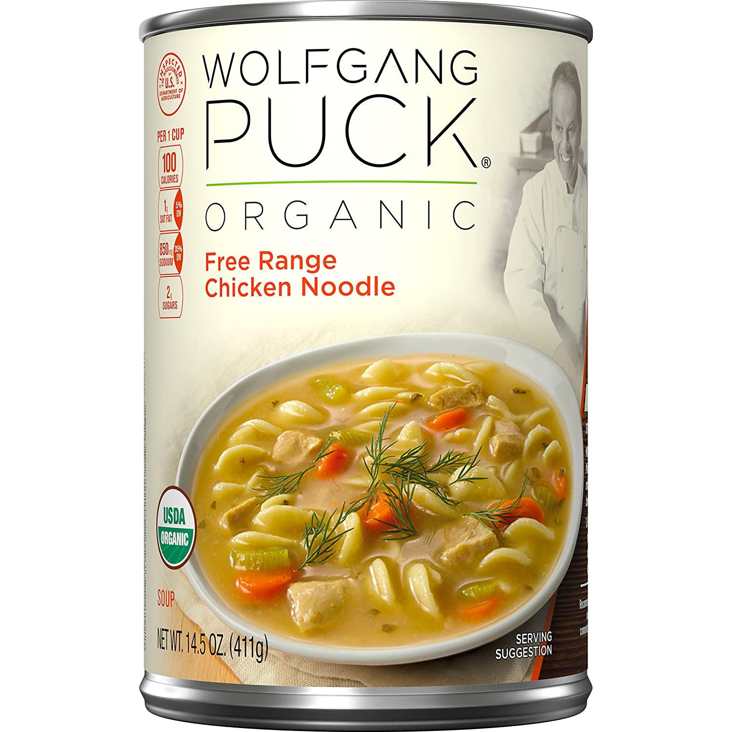 Amazon Com Wolfgang Puck Organic Free Range Chicken Noodle Soup 14 5 Ounce Prime Pantry