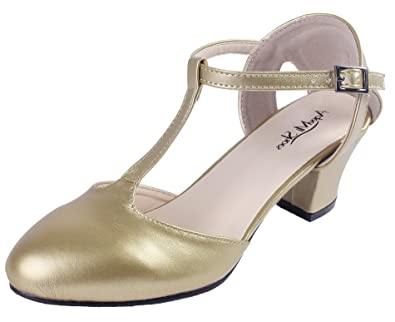 AgeeMi Shoes Damen Buckle PU Kitten-Heels Pumps Schuhe