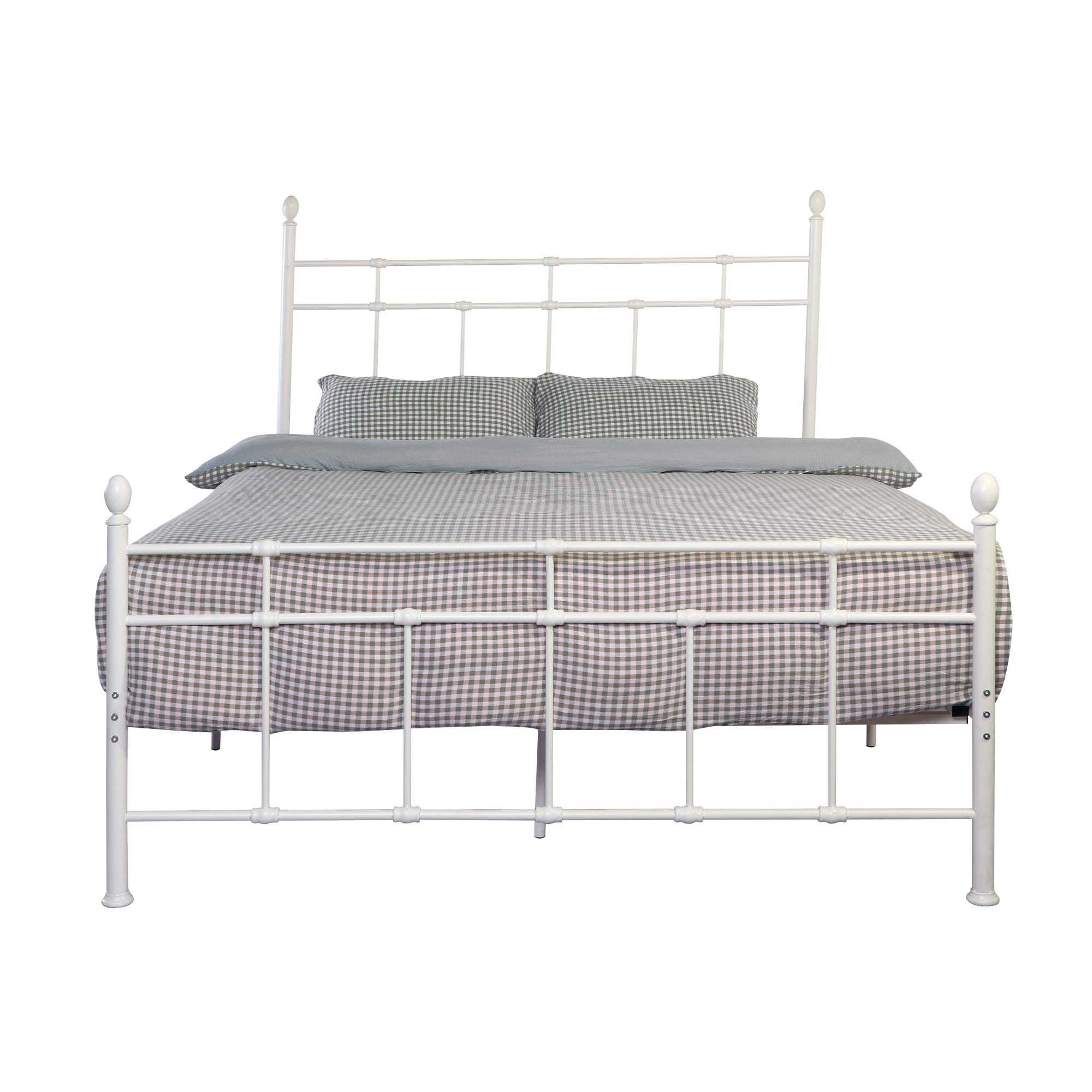 Kali Twin Metal Bed in Cloud White with Classic Pipe Frame, And Finials, by Artum Hill