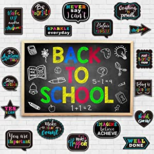 Chalkboard Bright Positive Sayings Accents, Motivational Signs Inspirational Cutouts Motivation Cards Delightful Colors Classroom Decoration for Students Bulletin Board Office Home Nursery, 30 Pieces