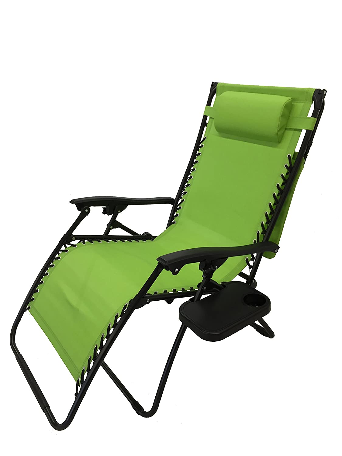 Deluxe Oversized Extra Large Zero Gravity Chair with Canopy Tray – Limon Green