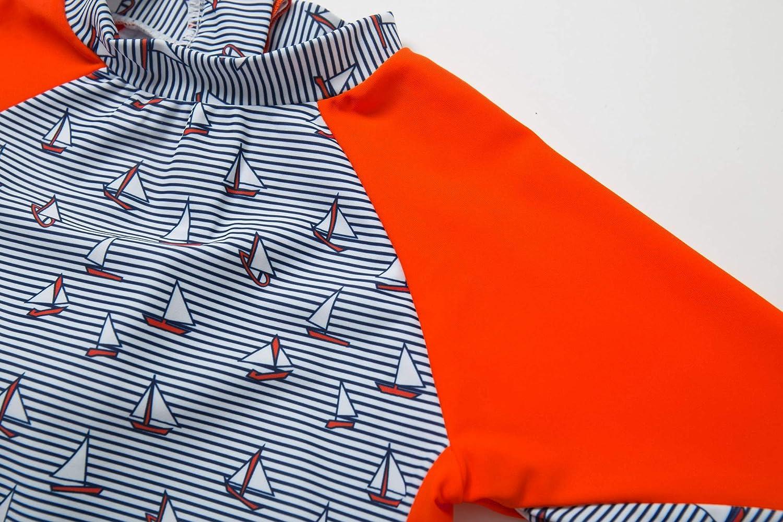 Kids UPF 50+ Sun Protection S//S One Piece Zip Sun Suit With Sun Hat Bonverano TM 3-6 months, Colorful fish
