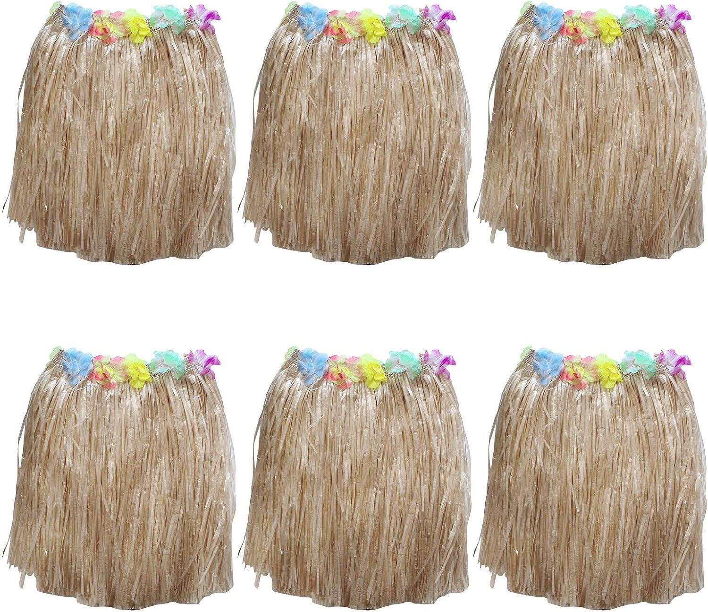 Kurtzy Falda Hawaiana (6 Piezas) - (41cm Larga) Oro Paja Hula Faldas con Elástica En La Cintura, Seda Flores para Fiestas de Disfraces, Cumpleaños, Playa Fiestas