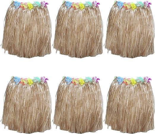 Kurtzy Set Faldas Hawaianas 6 Piezas - Coloridas Flores Seda ...