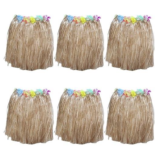 Set Faldas Hawaianas 6 Piezas - Coloridas Flores Seda Sintética ...