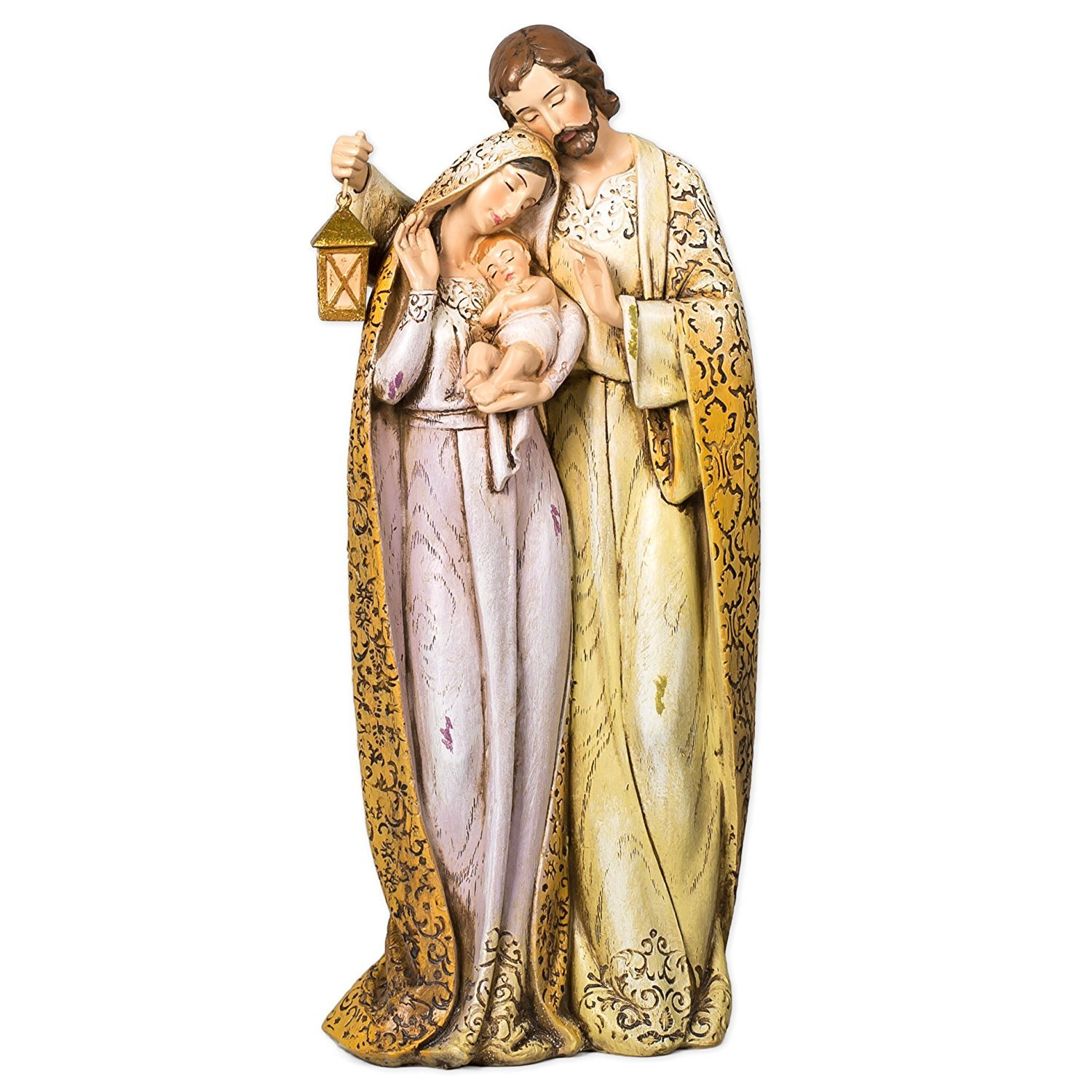 Embroidered Robe Holy Family 10 inch Resin Stone Christmas Nativity Figurine Roman 31928