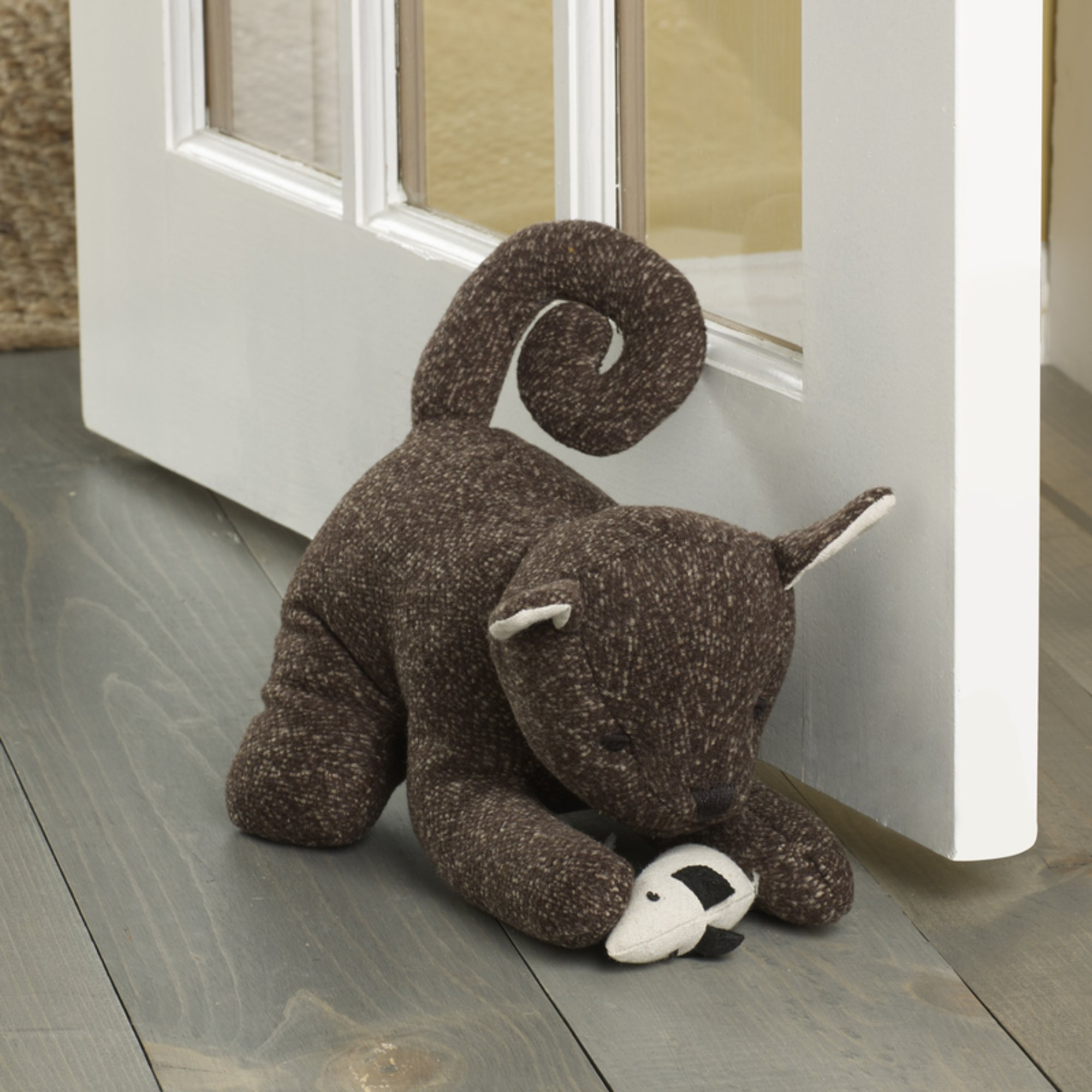 ELEMENTS 5218430 Decorative Polyester Door Stop, 10'', Brown Cat by ELEMENTS