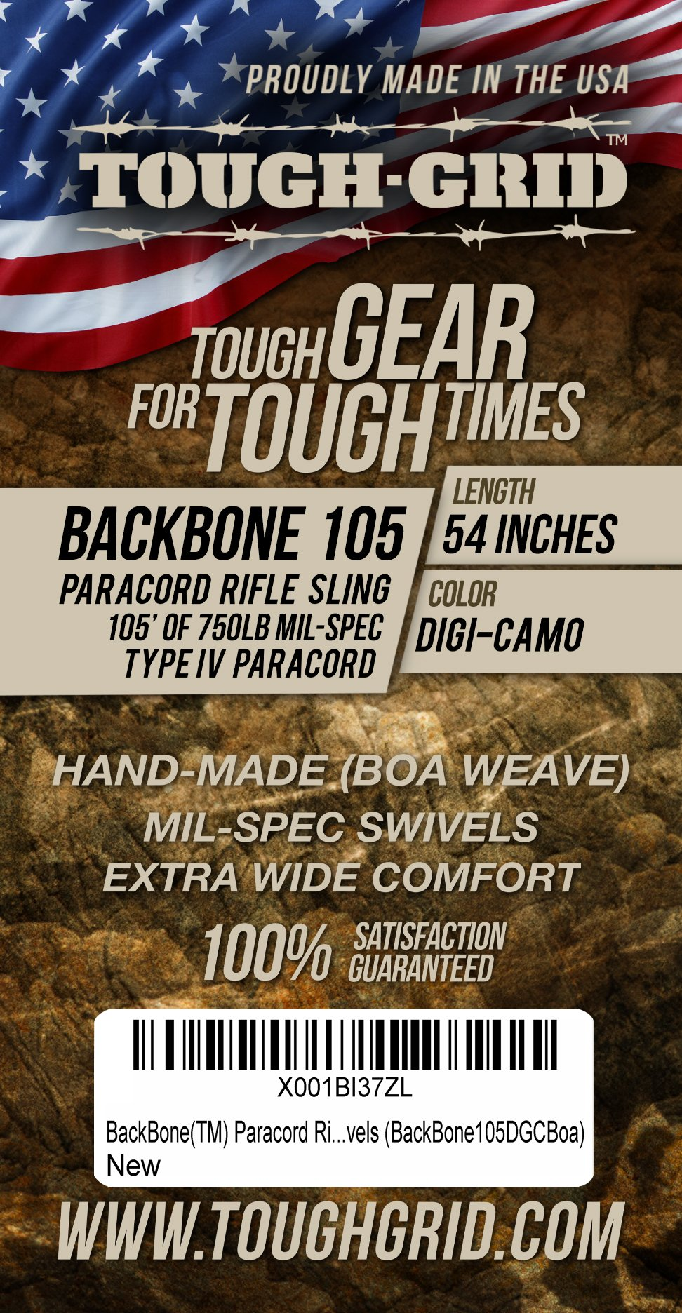 TOUGH-GRID Backbone(TM) Paracord Rifle Sling - Gun Sling/Rifle Sling - Handmade in The USA with Authentic Mil-Spec 750lb Type IV Paracord and Mil-Spec Swivels (BackBone105DGCBoa) by TOUGH-GRID (Image #4)