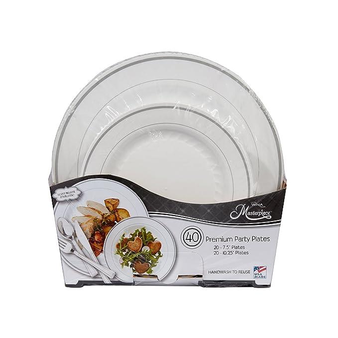 Amazon.com Masterpiece  I canu0027t believe itu0027s plastic  40 Plates (Includes 20 - 7.5  Plates and 20 - 10.25  Plates) Kitchen u0026 Dining  sc 1 st  Amazon.com & Amazon.com: Masterpiece