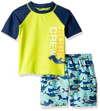 cb95f011cb498 KIKO & MAX Toddler Boys' Swimsuit Set with Short Sleeve Rashguard Swim Shirt,  Surf