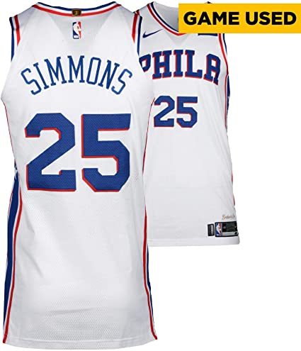 new style 8a700 d2264 Ben Simmons Philadelphia 76ers Game-Used #25 White Jersey vs ...