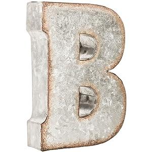 Galvanized Metal 3D Letter B