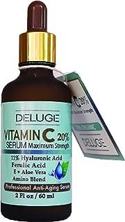 Torrente – mejor vitamina C Serum Para la cara con 20% Vitamina C, (peso neto 2 oz). 11% de Ácido…