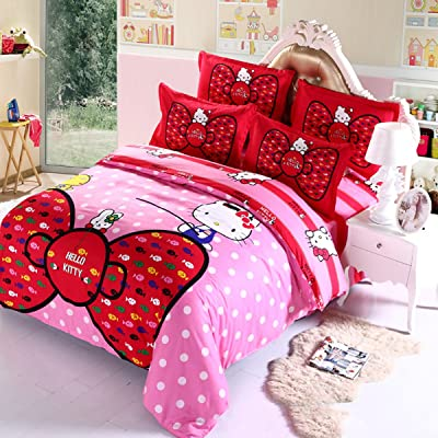 "Hmlover Soft Polyester Cartoon 3D Print Bedding Set 4pcs,Durable,Queen Size, 1duvet Cover,2pillowcases,1bed Sheet Hello Kitty Bowknot 1.5m/150x200cm/59.1"" x78.8: Kitchen & Dining"