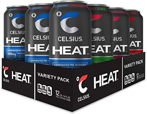 CELSIUS HEAT Performance Energy Drink 4-Flavor Variety Pack, ZERO Sugar, 16oz. Can, 12 Pack