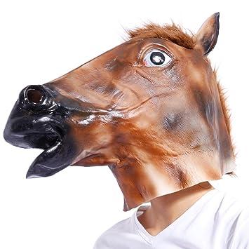 Maboobie Careta Máscara de Caballo de Látex para Cabeza Completa Disfraz Halloween Carnaval Tema Animal y