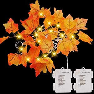 14.7 ft Maple Leaves String Light (2 Pack), Lighted Fall Garland with 40 LED Warm White Lights & 8 Blinking Modes, Fall Leaves Garland, Thanksgiving Decoration for Home Indoor Autumn Harvest Holidays
