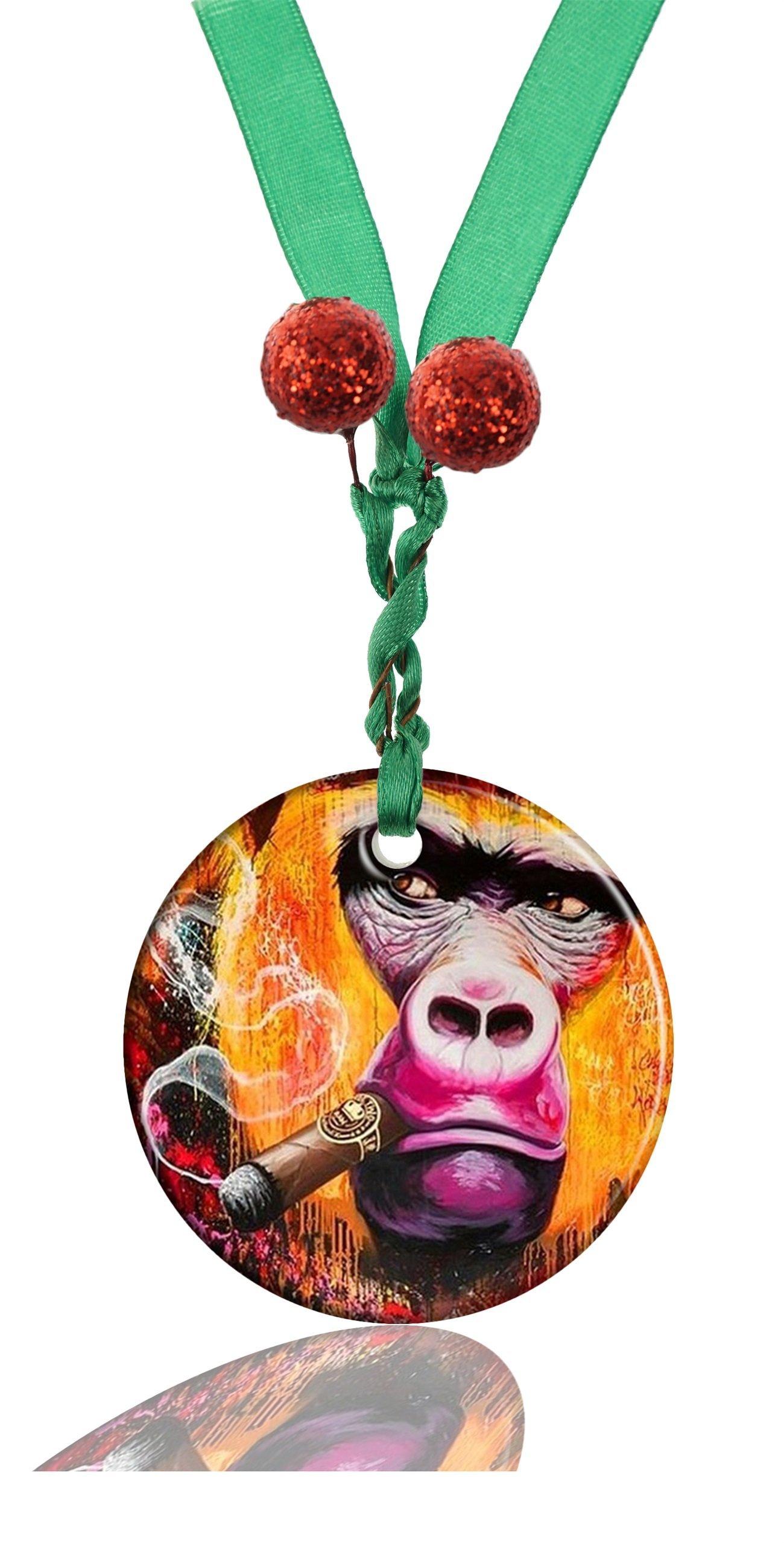 RUNDO Animal Monkey Custom Personalized New Ceramic Porcelain Hanging Round Christmas Ornaments