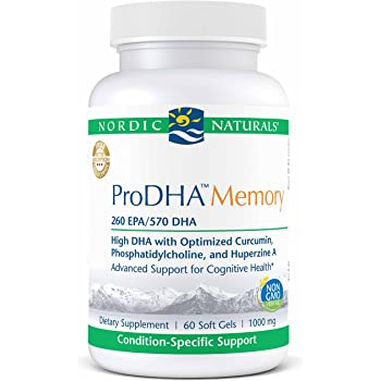 Nordic Naturals ProDHA Memory - Fish Oil, 260 mg EPA, 570 mg DHA, 400 mg Longvida Optimized Curcumin, Advanced Support for Cognitive Health and Neurological ...