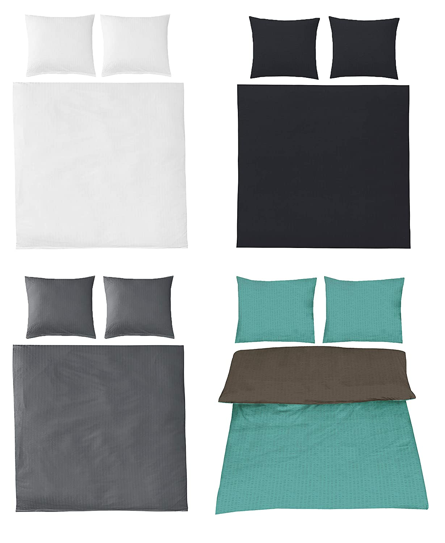 Seersucker Bettw/äsche Uni Baumwolle b/ügelfrei in 4 Farben 200x200 cm 2X 80x80 cm Anthrazit