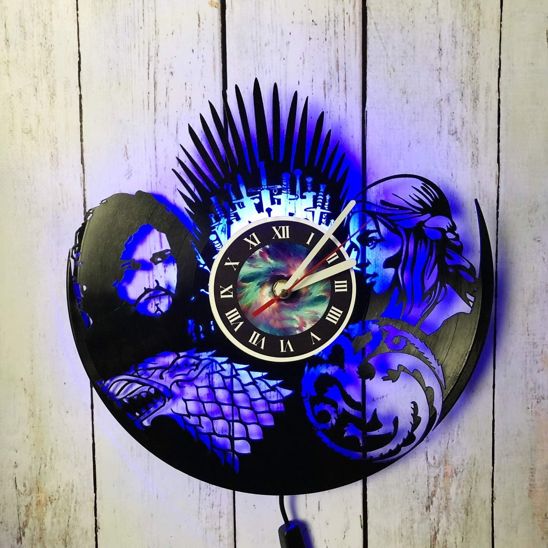 MZshop25 Game of Thrones Stark Targaryen Series LED Wall Lights, Night Light, Wall Lamp, Handmade LED Vinyl Wall Clock Remote Control LED Vintage Backlight Art Cool Living Room Interior Decor (Blue)