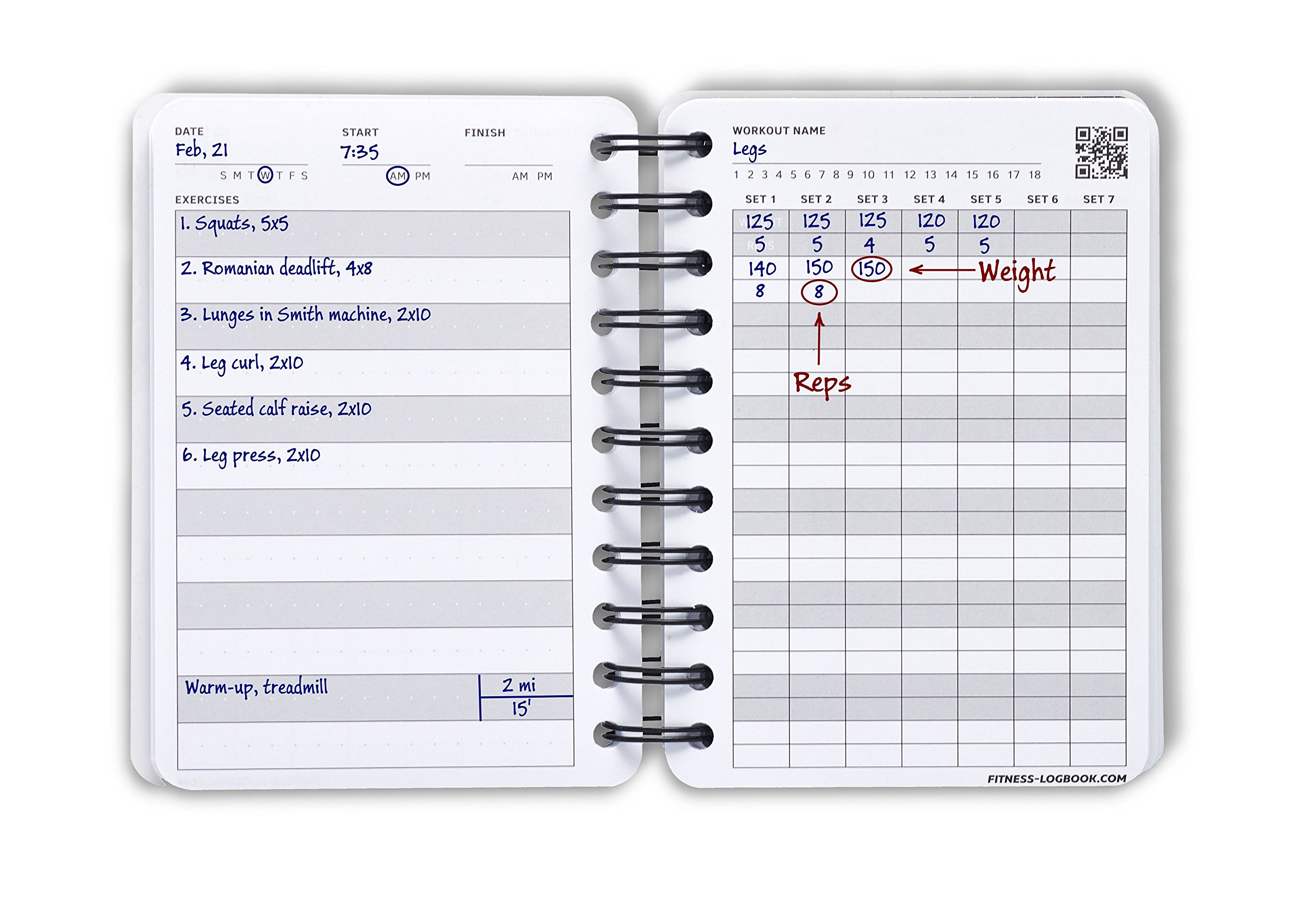 gym logbook 115 workouts 4 x 6 inches thick paper durable