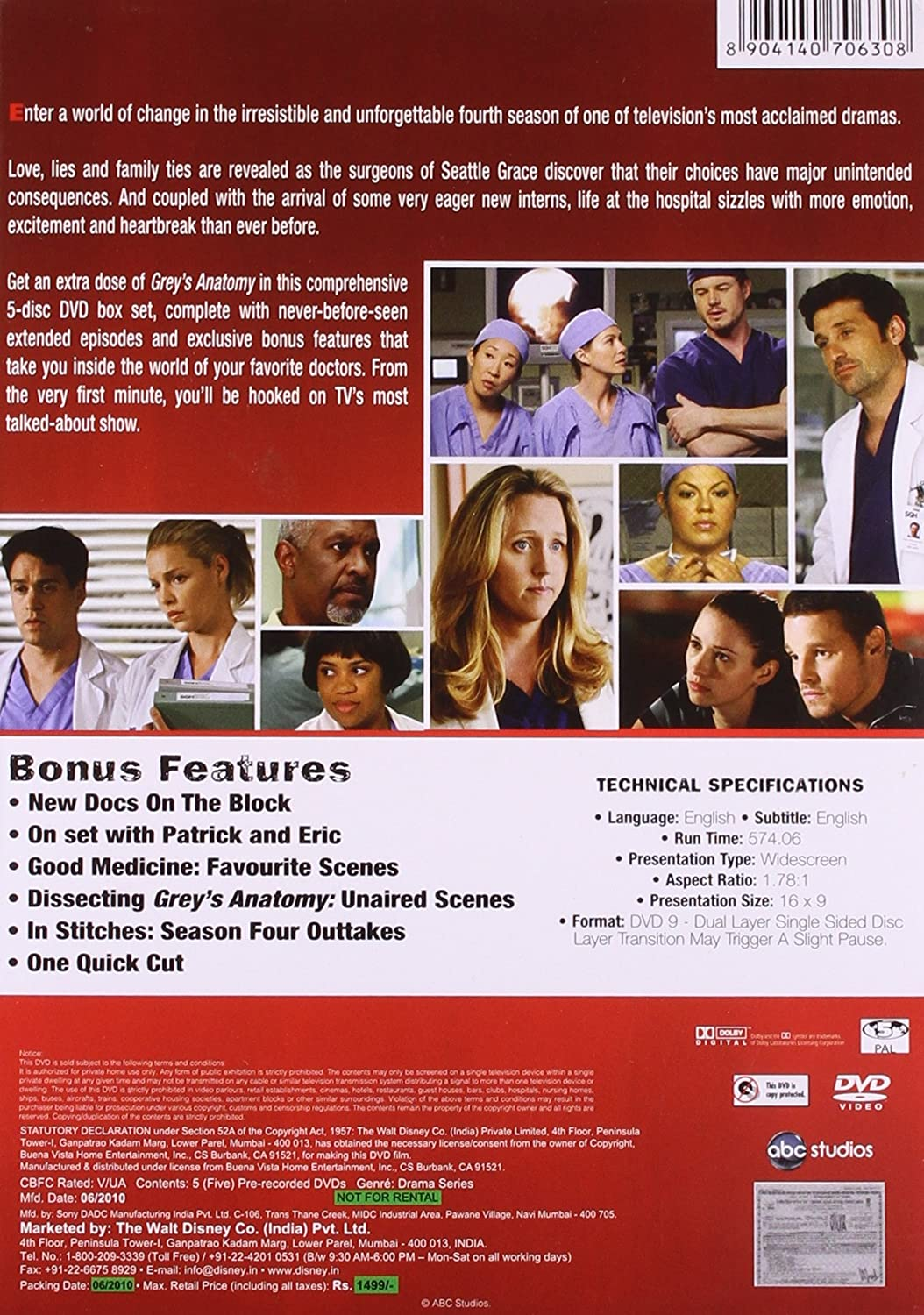 Amazon.in: Buy Grey\'s Anatomy Season 4 DVD DVD, Blu-ray Online at ...