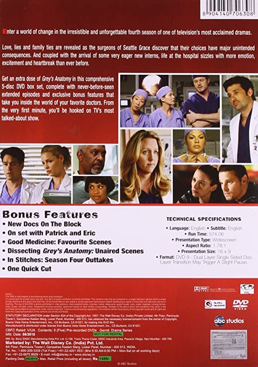 Amazon Buy Greys Anatomy Season 4 Dvd Dvd Blu Ray Online At